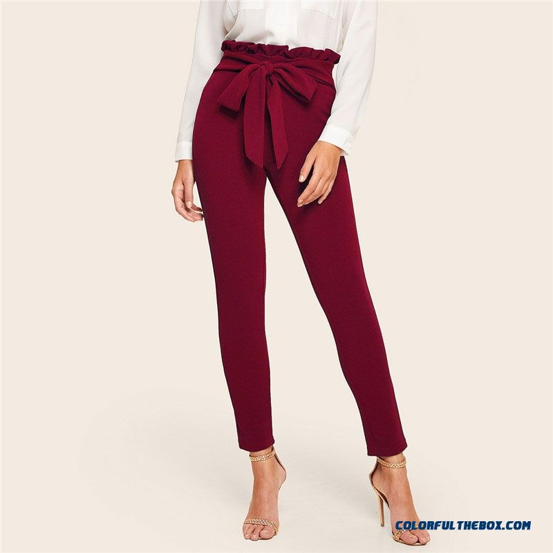 Shein Burgundy Casual Frill Trim Bow Belted Detail Solid High Waist Pants Women Fashion Clothing Elastic Waist Carrot Pants - detail images