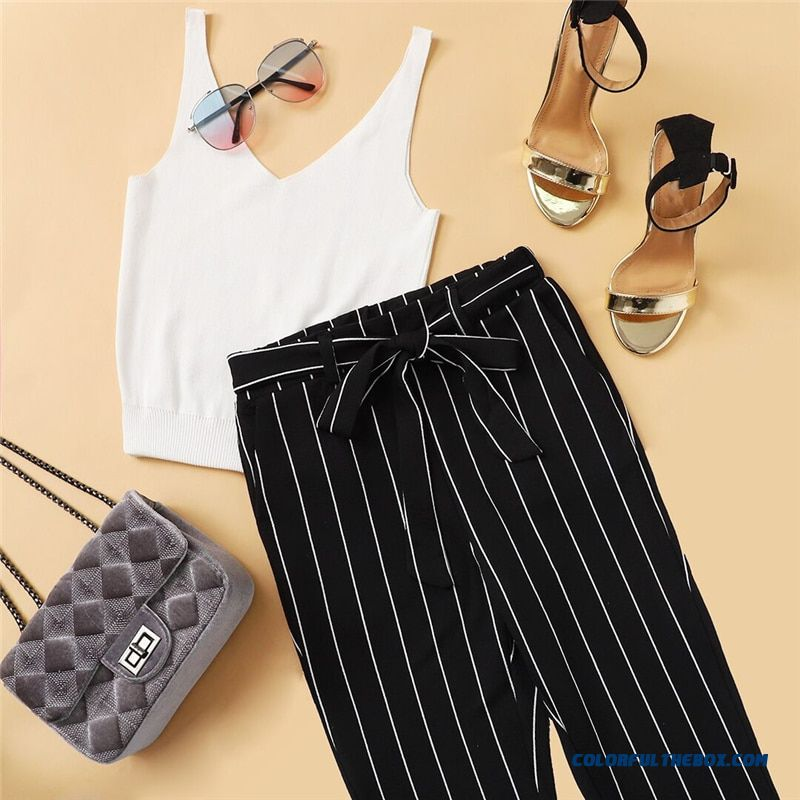 Shein Office Vertical Striped Skinny Pants Women Elastic Waist Belted Bow Tapered Trousers Spring New Elegant Workwear Pants - detail images