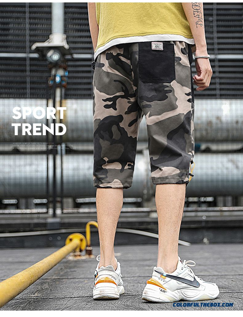 Short Pants Camouflage Tooling Summer Skinny 2019 Leisure Trend Men's New Black Loose - detail images