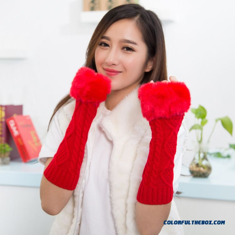 Special Clearance Free Shipping New Winter Long Kinted Girl Young Women Mittens & Gloves - detail images