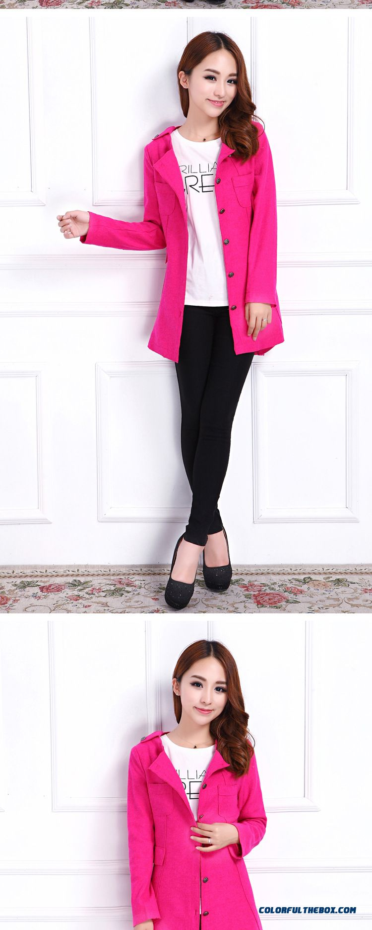 Special Clearance Free Shipping Slim Shaped Waist Medium-long Woolen Jacket Coat Women - detail images