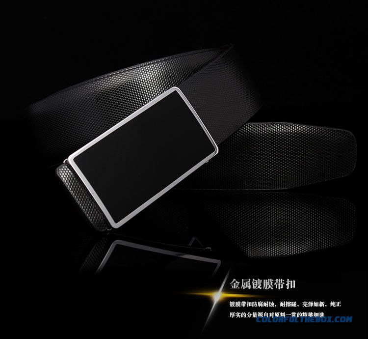 Special Desiagn For Men Casual Smooth Buckle Cowhide Leather Letters Belt Youth Plate Buckle - detail images