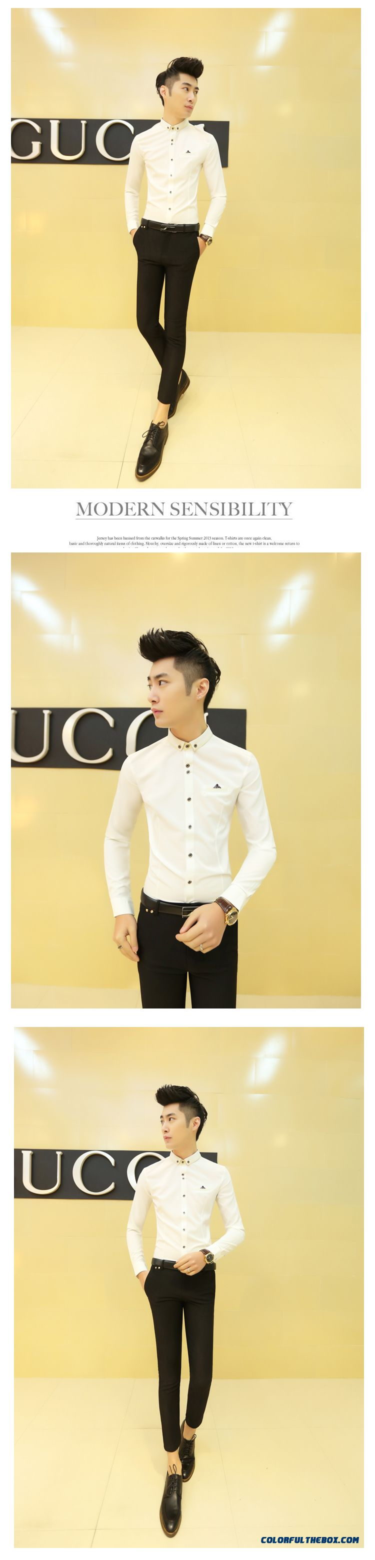 Special Offer Autumn Young Men Slim Long-sleeved Shirt Casual Shirt Solid Color - detail images