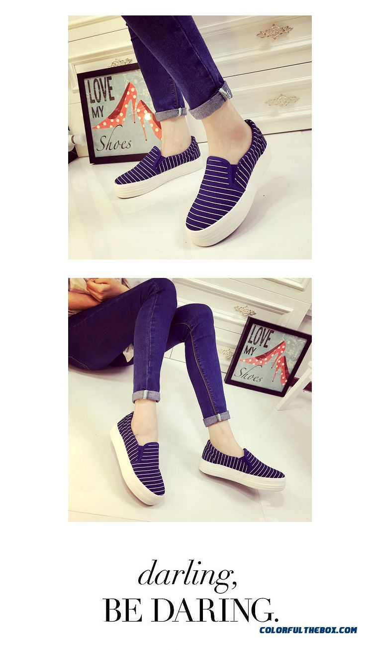 Special Offer Vogue Flat Thick Bottom Canvas Striped Casual Women Shoes - detail images