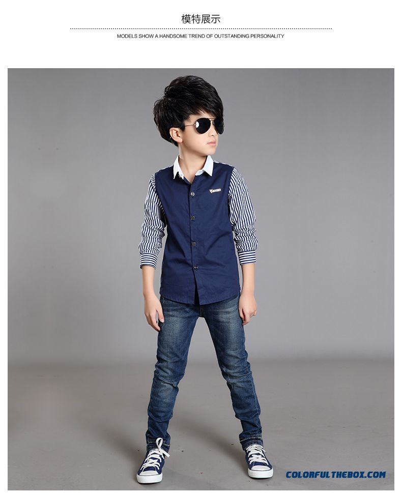 Spring And Autumn 2016 New Long-sleeved Shirt 10-12-13-15-year-old Boy Kids - detail images
