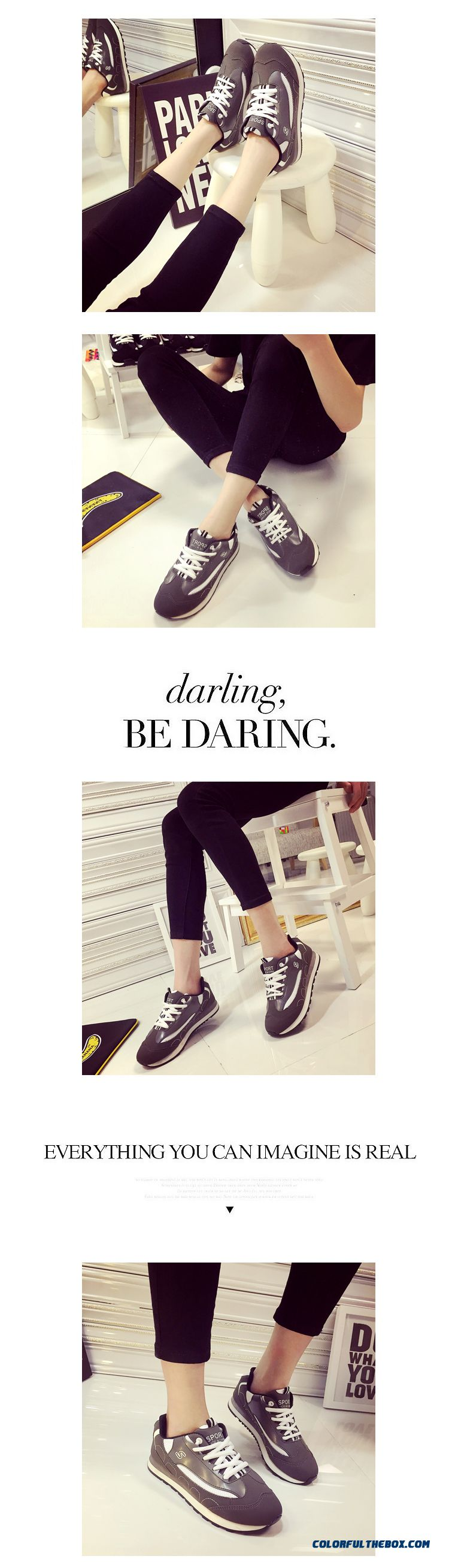 Summer New Black And White Sports Casual Shoes Fashion For Women - detail images