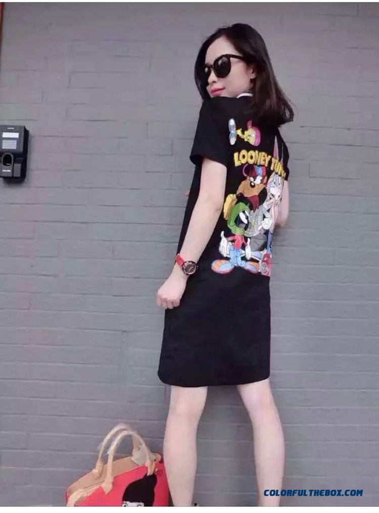 Summer New Cartoon Printed Women Dress Lapel Loose Casual Short-sleeved Large Size - detail images