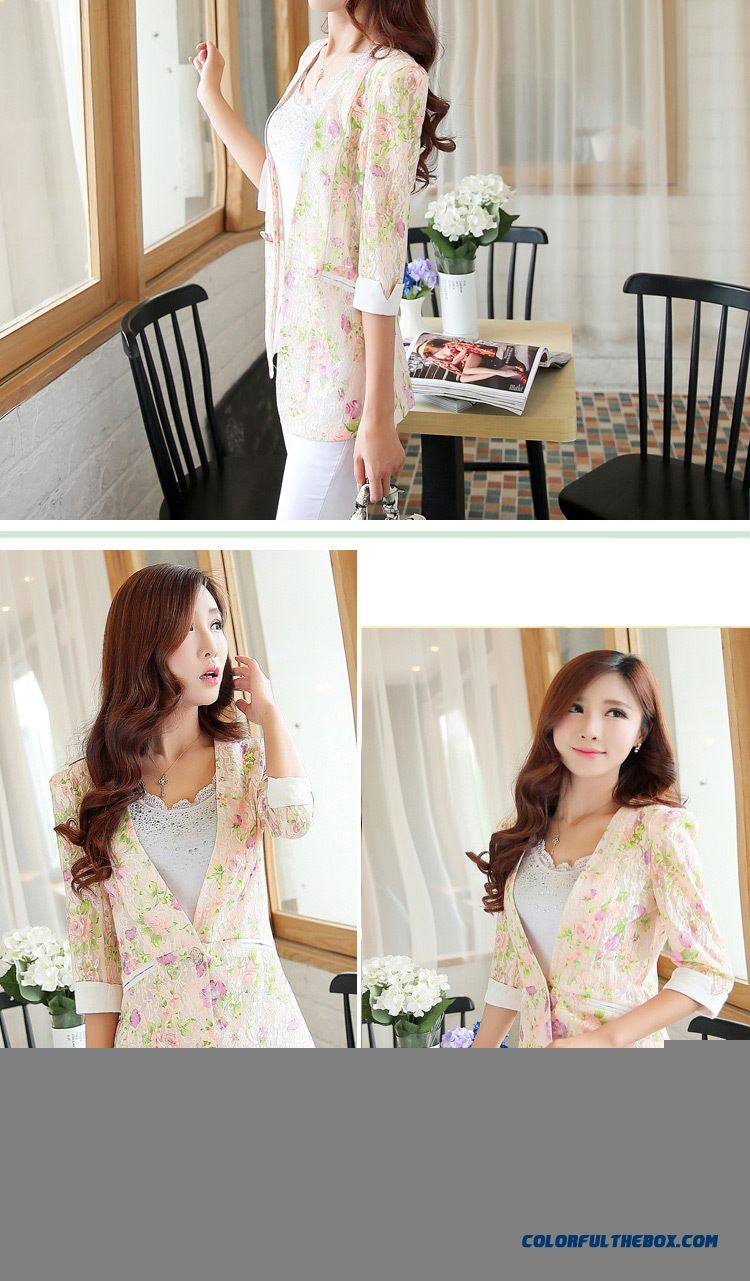Summer New Coat Women All-match Flowers Small Suit - detail images