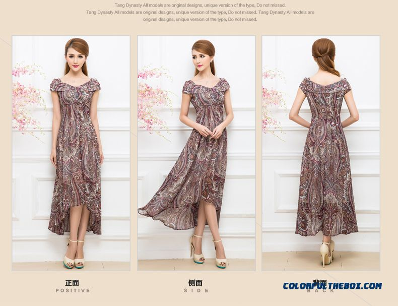 Summer New Korean Style Design Short-sleeved Printed Chiffon Dress Bohemian Long Dress For Women - detail images