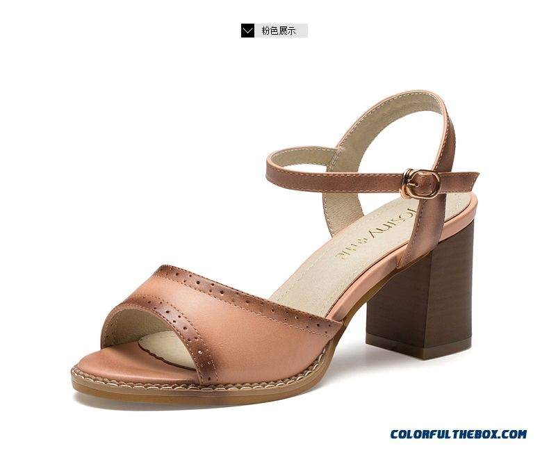 Summer New Spell Color Buckle High-heeled Open-toed Sandals With Rough Heel Women Shoes - detail images