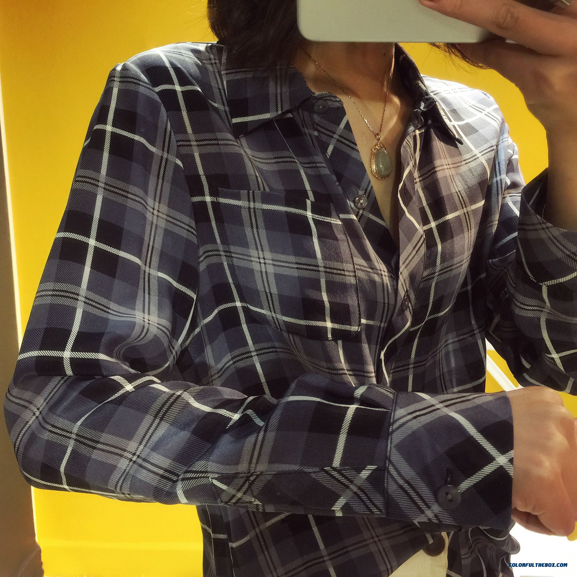 Summer New Women Korean Style Silk Classic Plaid Upscale Boutique Shirt - detail images
