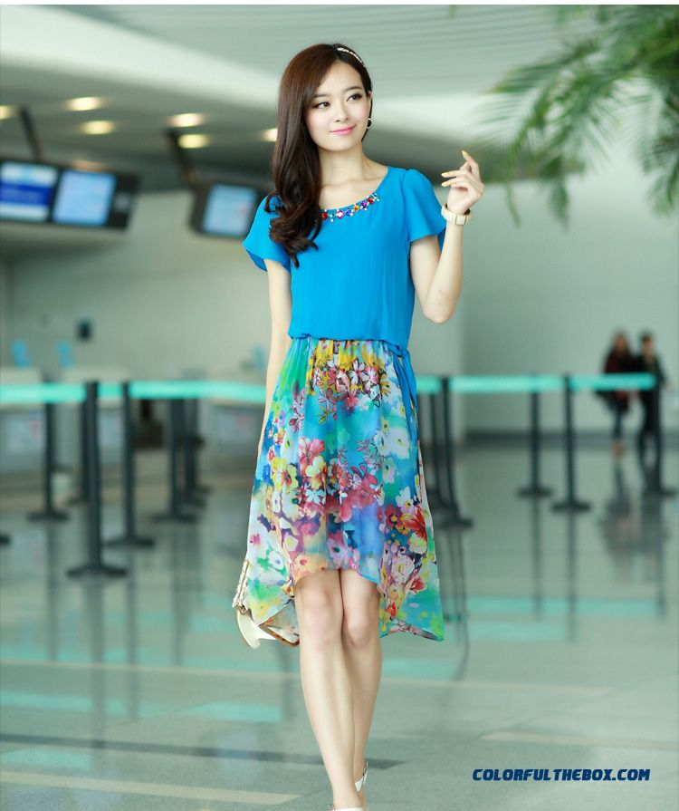 Summer Women Dress Long Stitching Large Size Sweet And Elegant Printed Chiffon - detail images