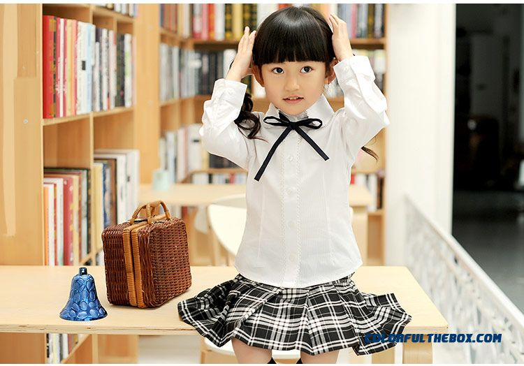 Sweet Long-sleeved Lapel Shirt Girls College Style Pure Cotton White - detail images