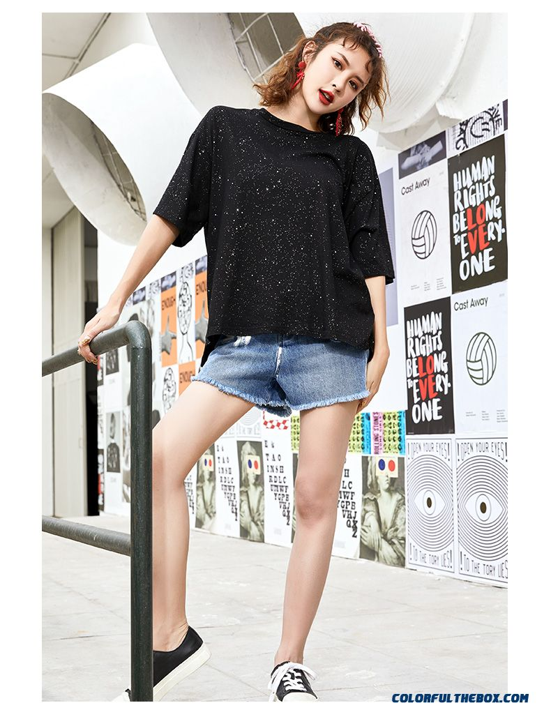 T-shirt Short Sleeve Coat Paillette Yellow T-shirt Black 2019 Pure Trend New Loose Cotton Summer Fashion Women's Lady - detail images