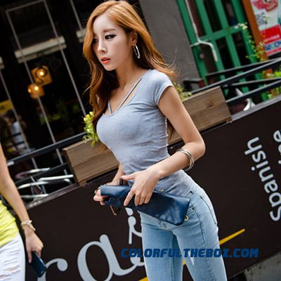 T-shirt Short-sleeved Women Summer Slim Solid Color Large Size Sexy - detail images