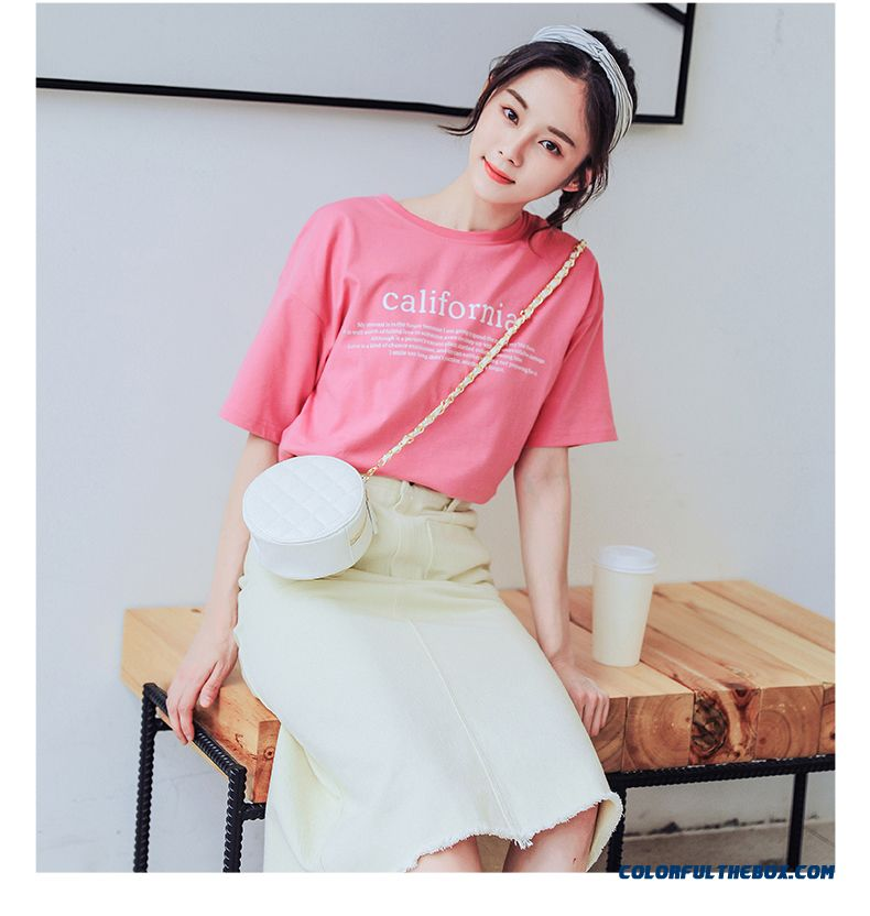 T-shirt Trend Women's T-shirt Red Europe Pink Short Sleeve Student Loose Summer Coat Half Sleeve - detail images