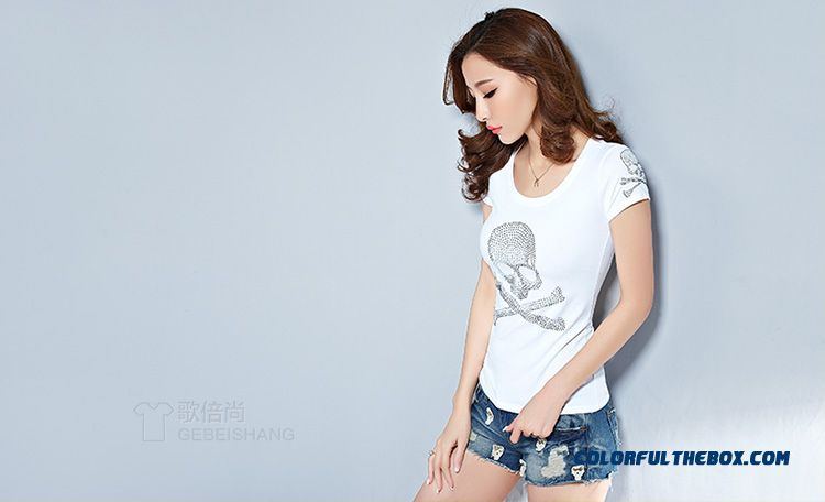 The Finest Quality Diamond Skull Printed Slim Crew Neck T-shirt Tide Women - detail images