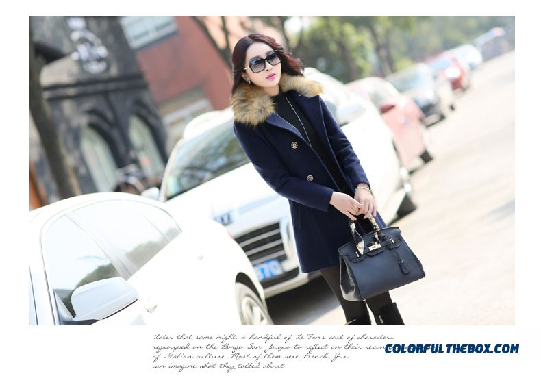 The Latest Fashion Winter Women Fur Collar Woolen Coats Blue Medium Style - detail images