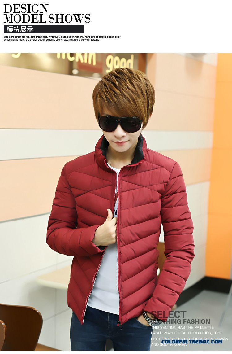 The New Men's Winter Coat Teen Slim Stand Collar Thick Tide Red - detail images
