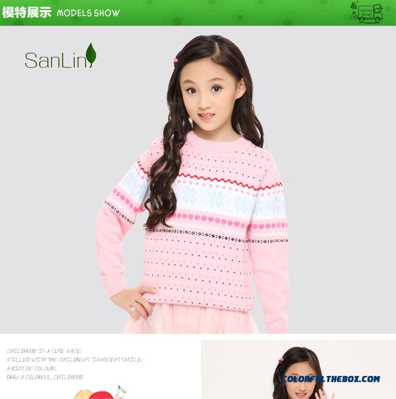 96c65f6599b Three Forest Girls Sweater Pullover Knitted Jacket New Autumn Kids Clothing  Kids Long-sleeved Striped ...