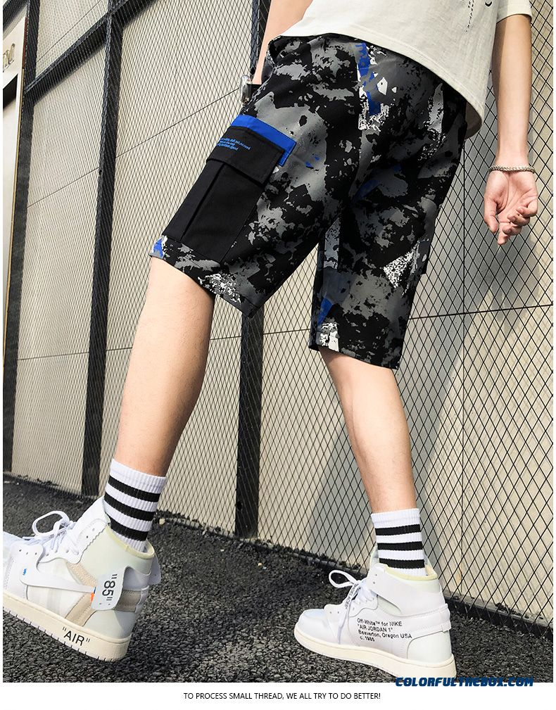 Tooling Europe Loose Trend Sport Black Men's Leisure Pants Camouflage Skinny Shorts Short Pants Beach Summer - detail images