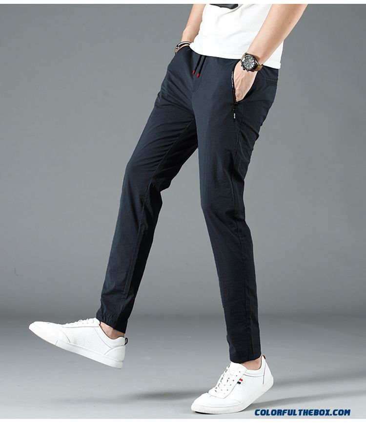 Trend Pants Leisure Sport Elasticity Men's Loose Skinny Blue Summer Breathable Europe - detail images