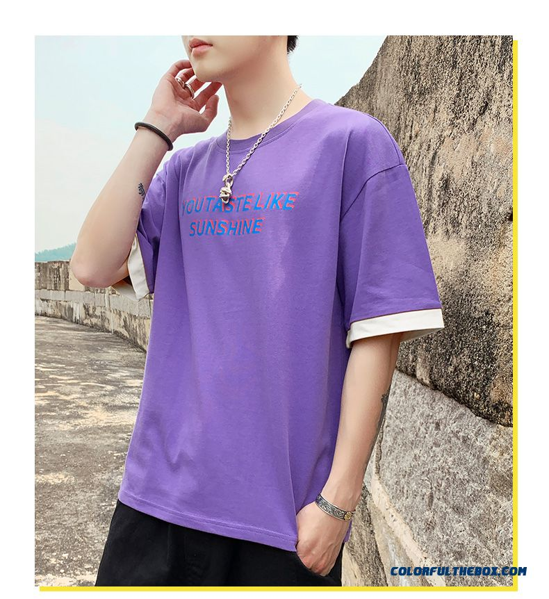 Trend White Red Loose Short Sleeve T-shirt Half Sleeve Coat Men's All-match Summer - detail images