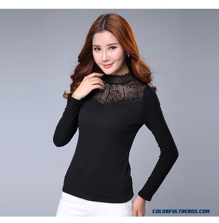 Upscale Bottoming Shirt Plus Velvet Thick Warm Women Slim Printing High-necked T-shirt Gauze - detail images