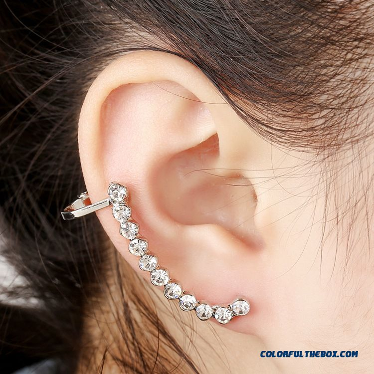 Upscale Crystal Ear Clip Earrings Simple Wild Unilateral Women Ear Jewelry Hypoallergenic - detail images