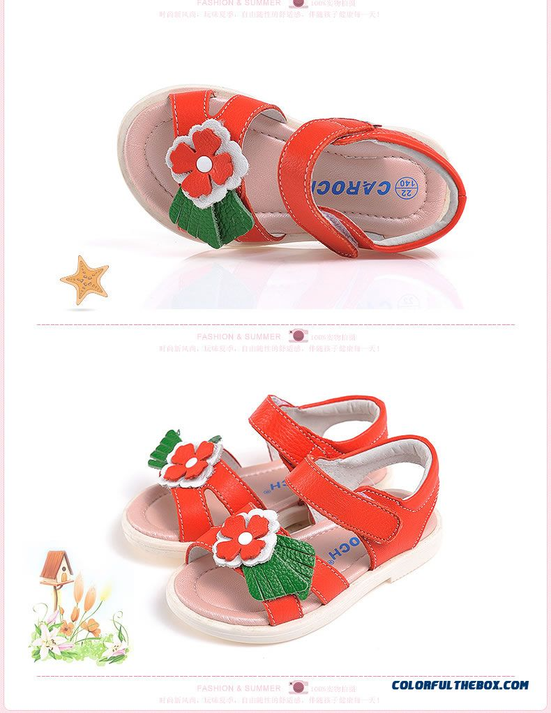 Vigorous Strides Genuine Leather Shoes Anti-slip Sandals Korean Style Kids Shoes Designed Specifically For Girls - detail images