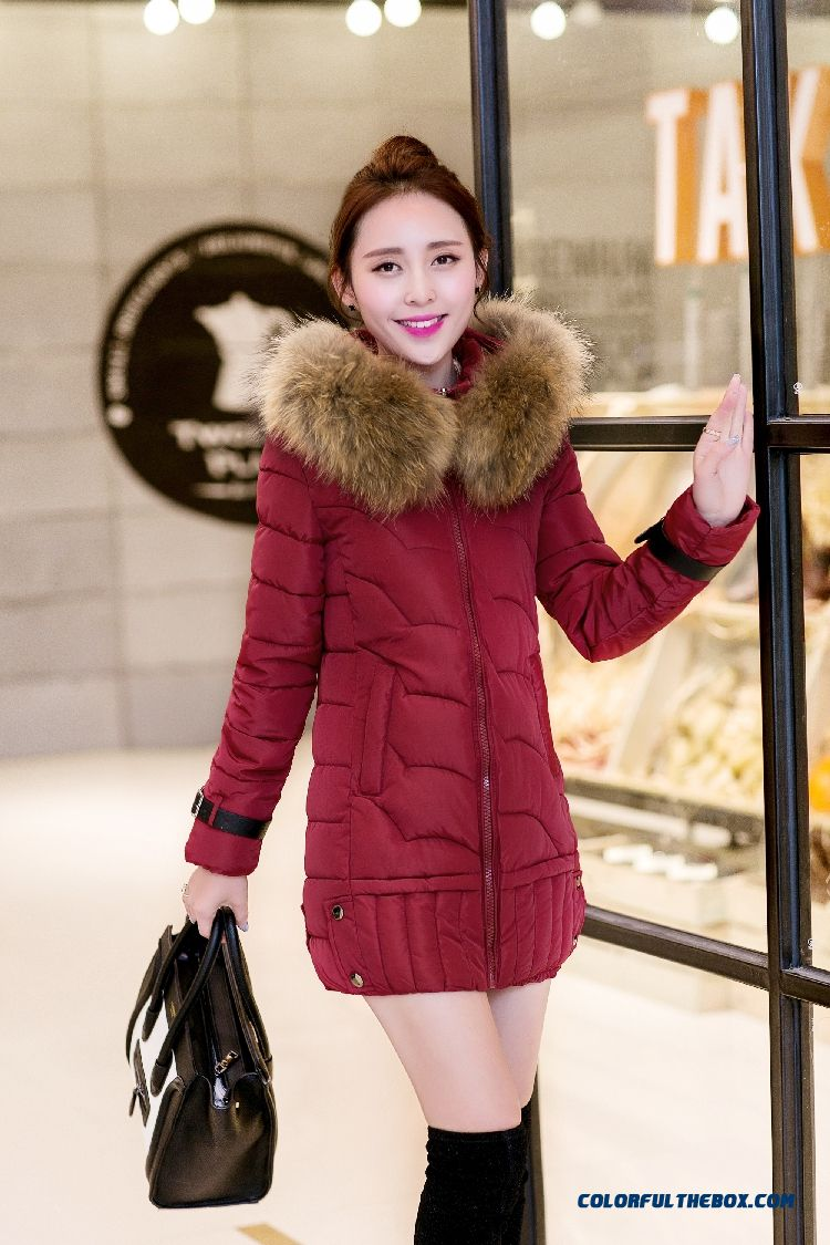 Vogue Winter New 2015 Female Ovo Collar Korean Version Thin Thick Warm Coat - detail images