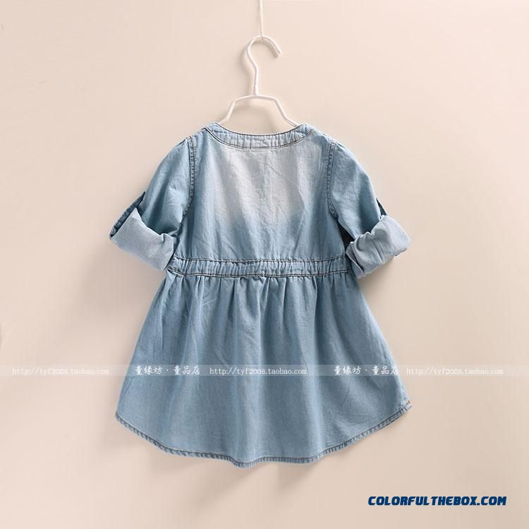 Western Style New Girls Autumn Dress Baby Kids Dual Purpose Sleeve Denim Shirt - detail images