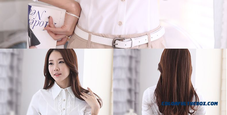 White Long-sleeved Shirt Large Size Women's Blouses Medium Style Overalls - detail images
