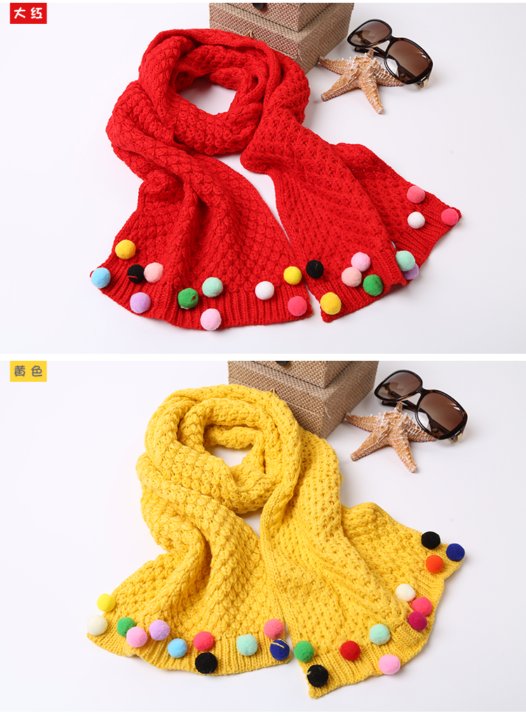 Wholesale Kids Winter Warm Cute Scarfkids Winter Warm Cute Wool Scarf Breathable Casual Accessories For Girls - detail images