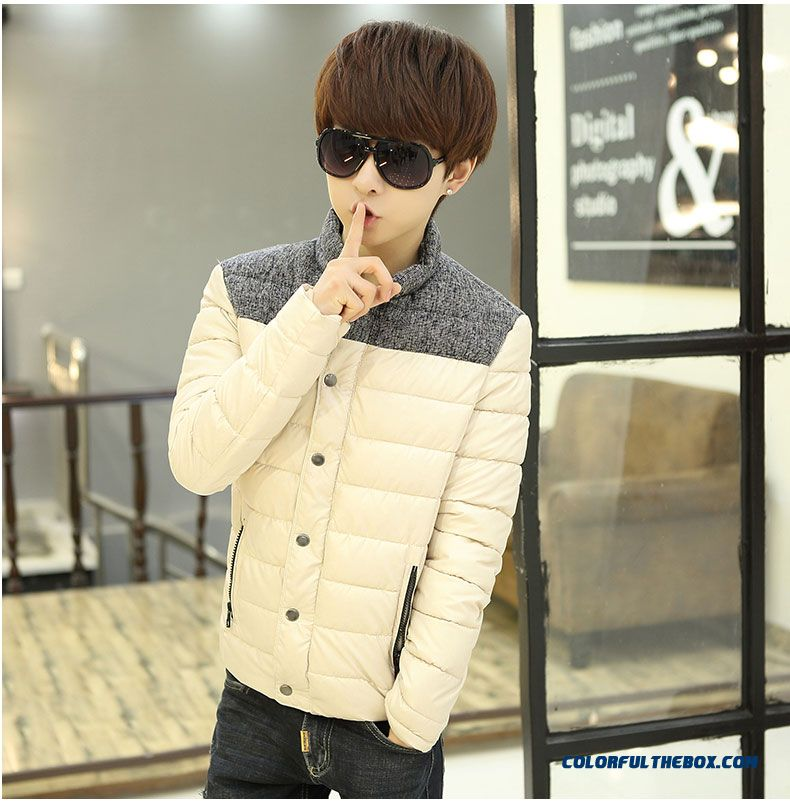 Winter New Teen Men Coat Casual Short Stand Collar Thick Cotton Coats Tide - detail images
