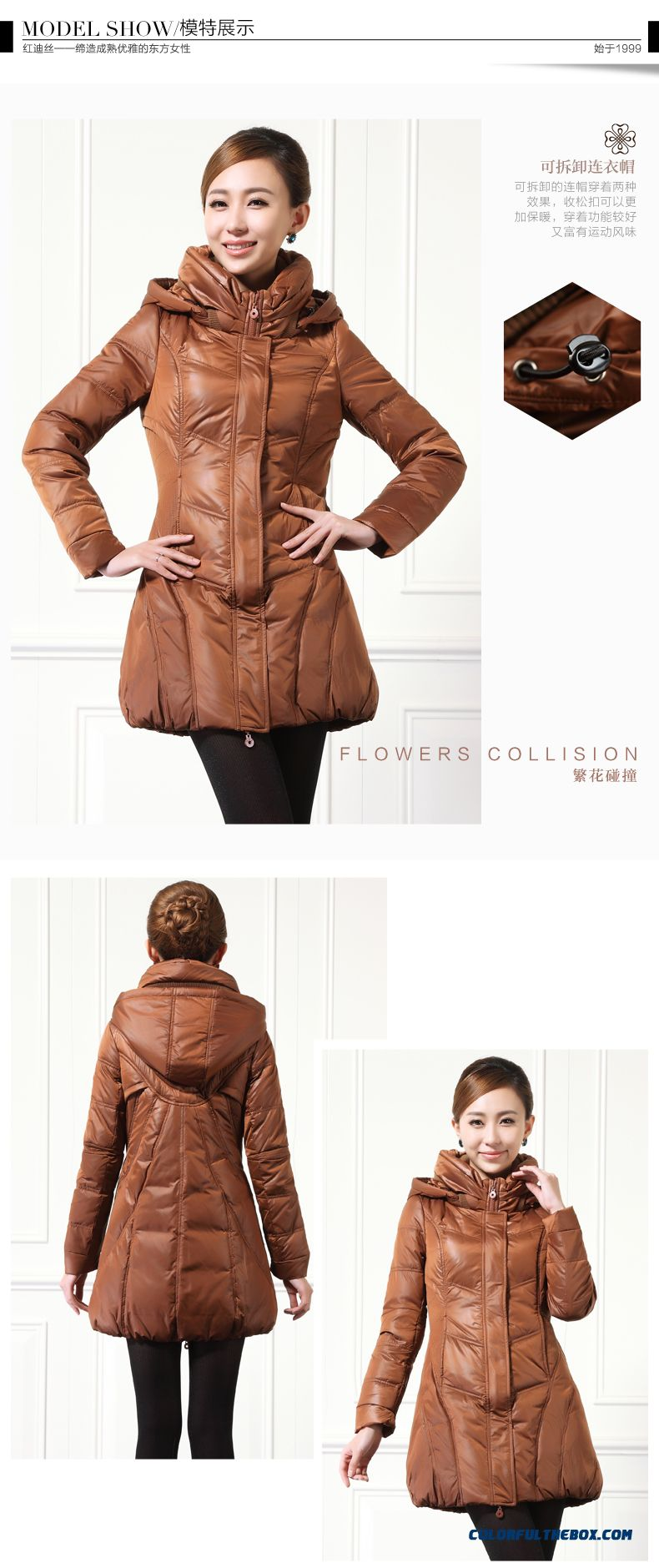 Winter New Women's Hooded Coats Thicken Medium-long Black Brown Keep Warm - detail images