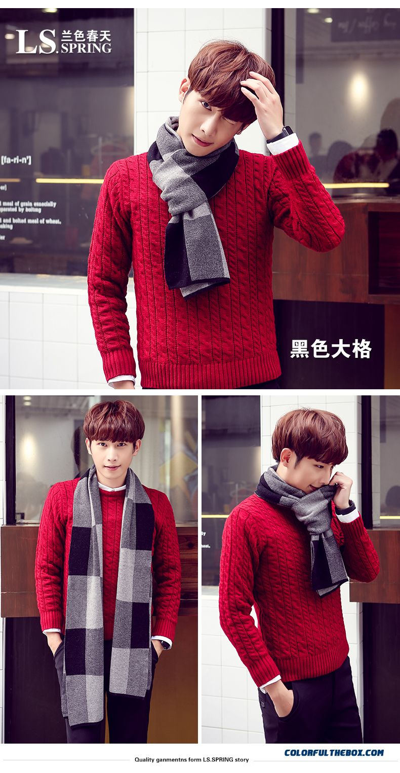 Winter Outdoor Sports Essential Men's Accessories High-end Business Plaid Scarf - detail images