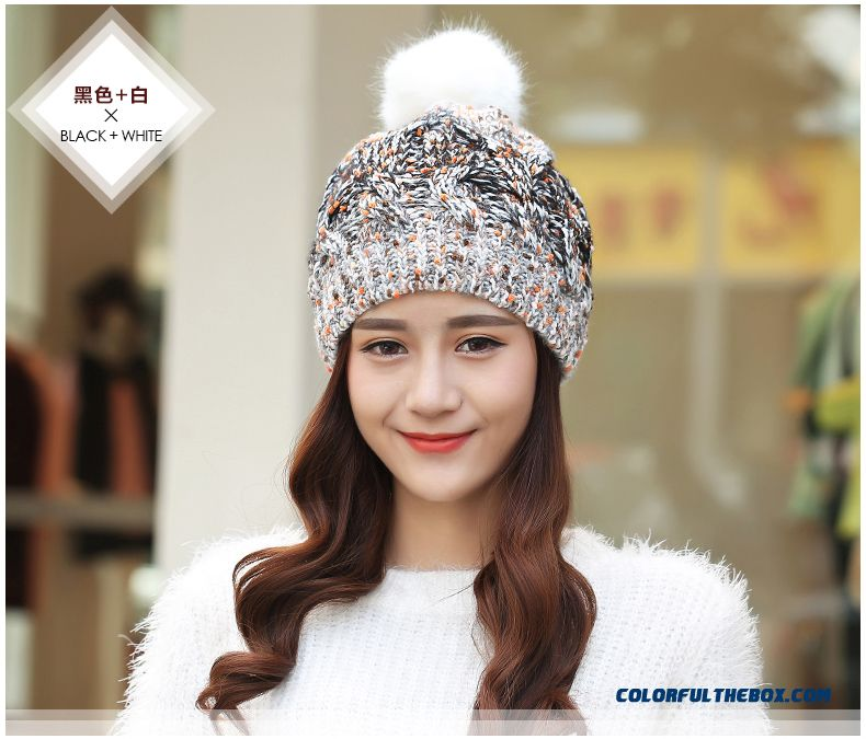 2b85ba27efa ... Winter Thick Warm Ovo Ball Knitted Hat Ladies Cute Twist Wool Cap Mixed  Color - detail ...