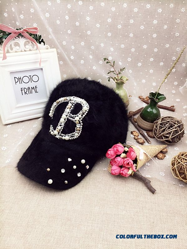 Women Accessories Butterfly Fashion Casual Outdoor Warm Letter Rhinestone Baseball Cap Sunshade Hat Peaked Cap - detail images