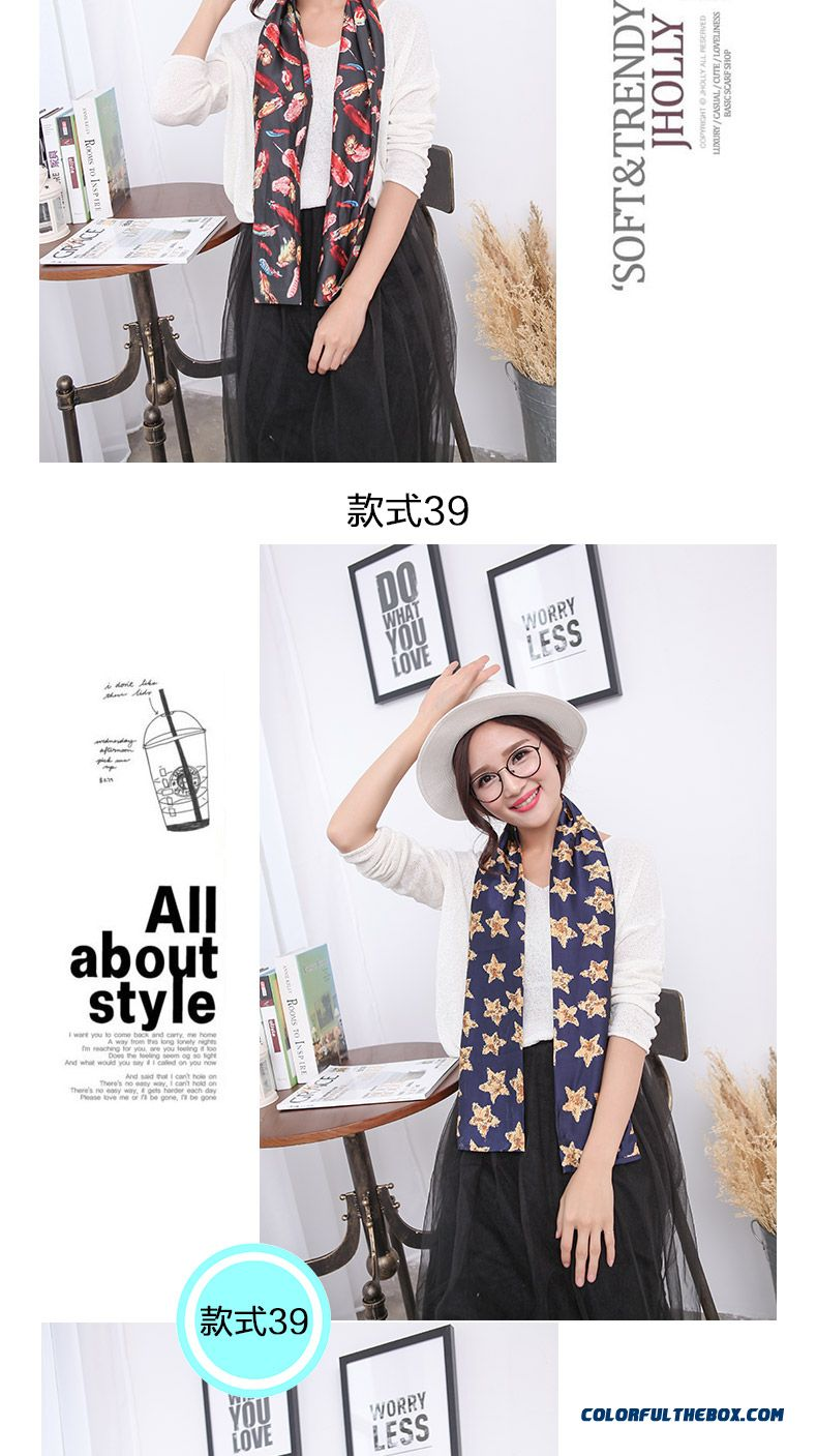 Women Favorite Silk Charmeuse Fabric Chiffon Occupation Business High-grade Double Scarf - detail images
