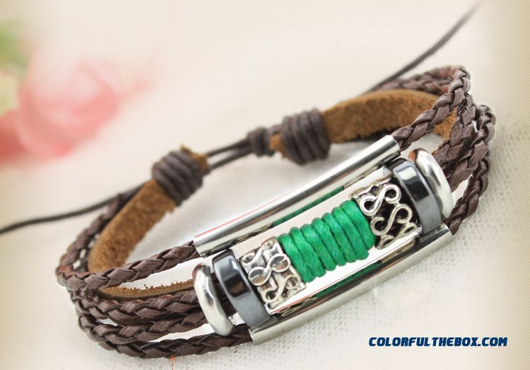 Women Hand Made Leather Bracelet Three String Of Beads Bracelets Snake Pu Leather Jewelry - detail images