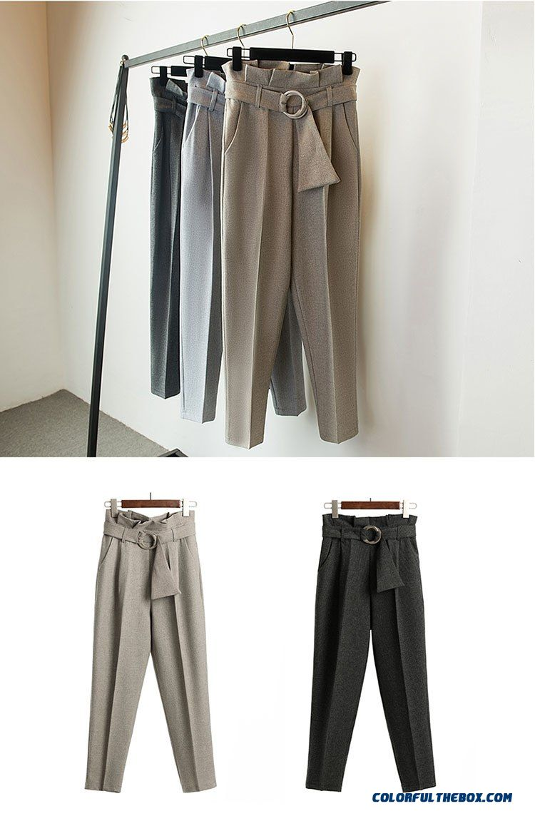 Women High Waist Ol Harem Pants Women Belt Summer Style Casual Pants Female 2018 New Grey Khaki Solid Trousers Work Wear - detail images