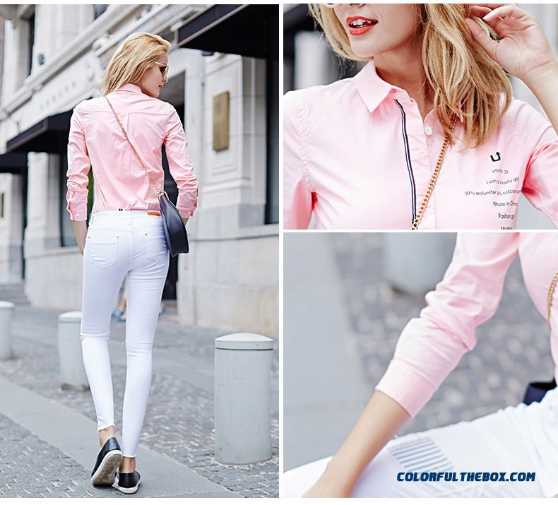 Women Letters Printed Ribbon Decoration Placket Hit Color Slim Thin Long-sleeved Shirt - detail images