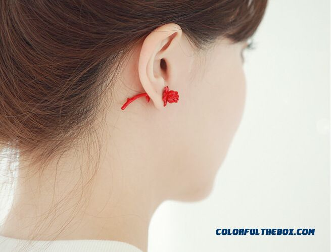 Women Personalized Rose Flowers After Button Style Earrings Ear Jewelry Wholesale - detail images