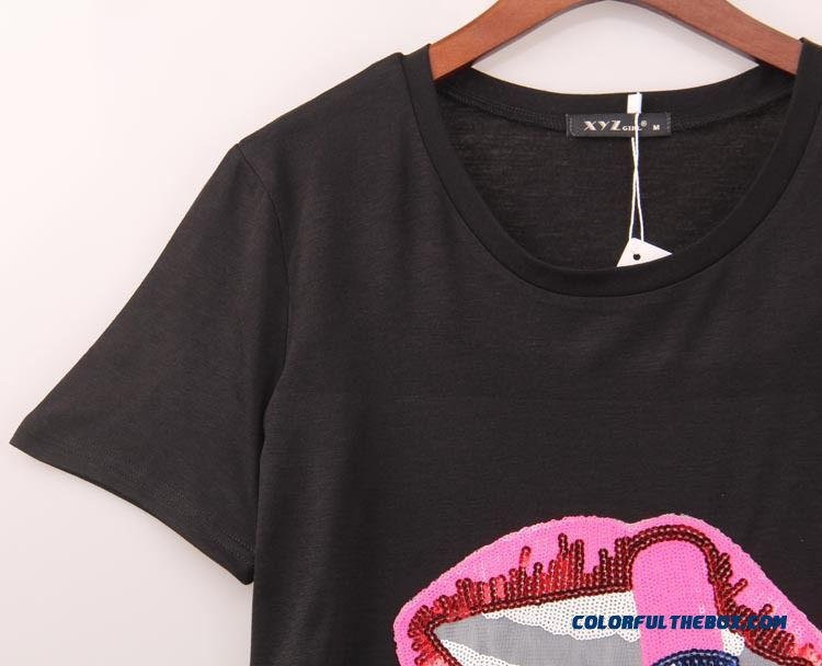 Women Short-sleeved Lipstick Lips Beads Embroidery Round Neck Short Sleeve T-shirt - detail images