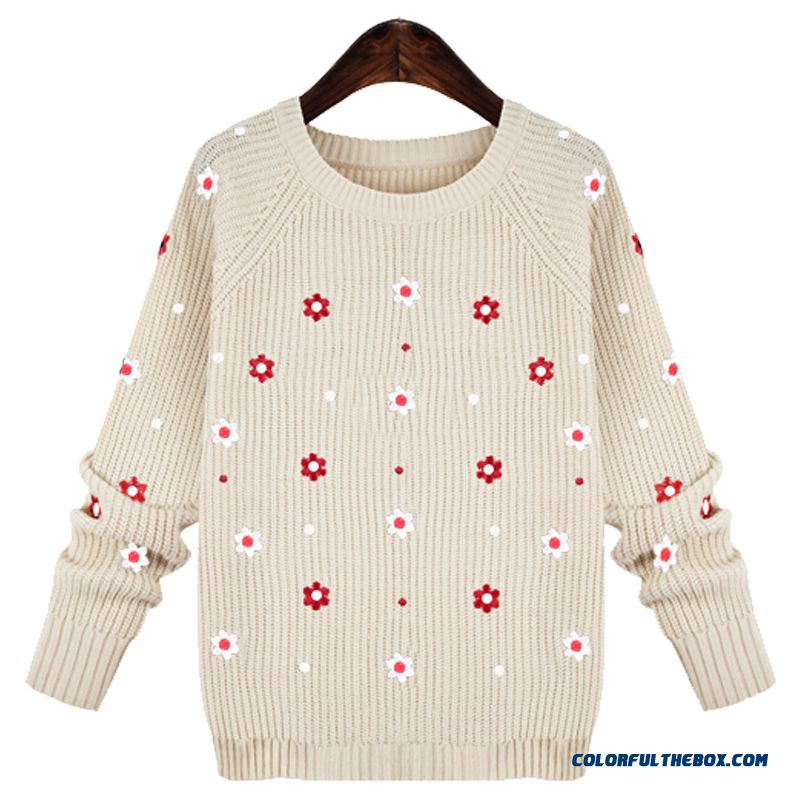 Women Sweater Bottoming Shirt Pull Blouson Round Neck Red Blue Flower Pattern - detail images