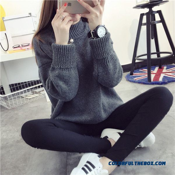 Women Sweater High Neck Thick Loose Pull Blouson Bottoming Shirt Dark Grey Khaki Red Blue - detail images