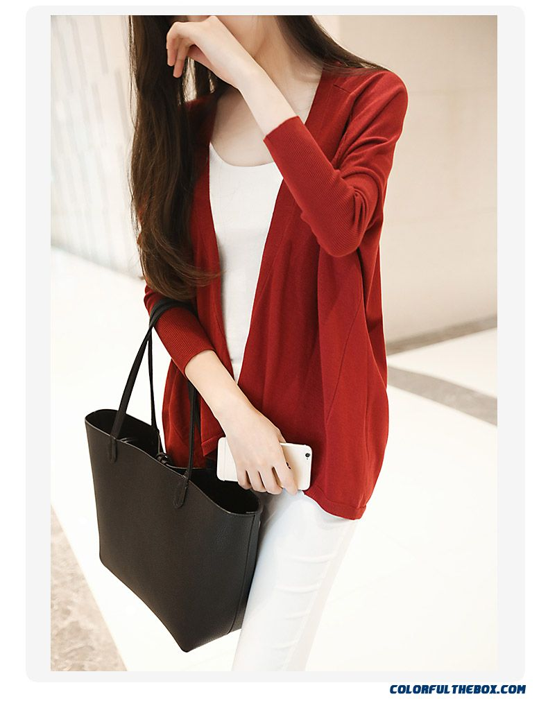 Women Sweater Loose Lady Cardigan Medium Long Coats Thin Red Blue Black - detail images