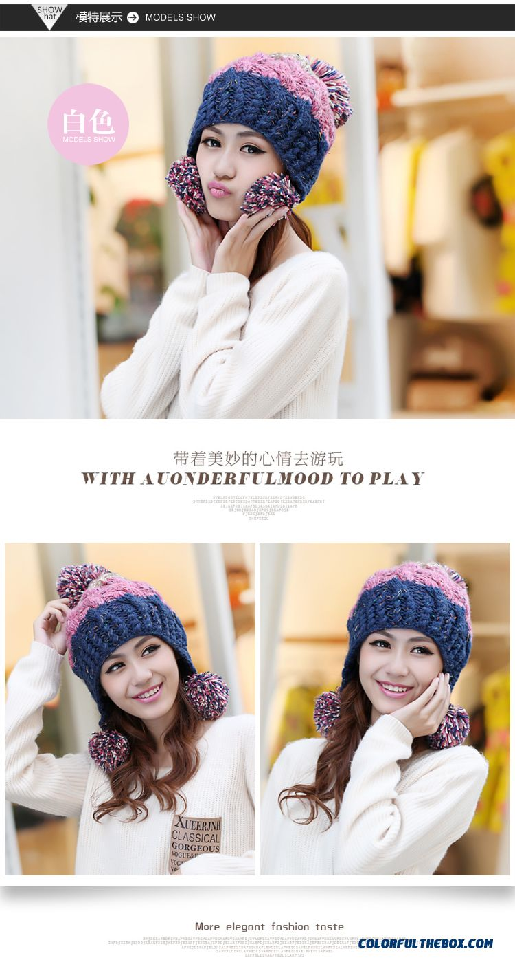 cheap women sweet winter wool cap handmade knitted hat ear protection function accessories sale
