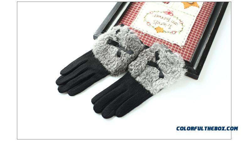 Women Touch Screen Gloves Thickness Rabbit Fur Fashionable Mittens Five Fingers Gloves - detail images